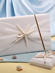 cheap -Guest Book / Pen Set Polyester Beach Theme With Starfish and Seashell Guest Book