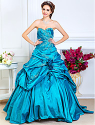 cheap -Ball Gown Open Back Quinceanera Prom Formal Evening Dress Sweetheart Neckline Strapless Sleeveless Floor Length Taffeta with Pick Up Skirt Criss Cross Beading 2021