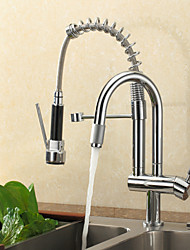 cheap -Kitchen faucet - One Hole Chrome Pull-out / ­Pull-down Deck Mounted Contemporary / Single Handle One Hole