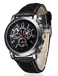 Недорогие -Муж. Наручные часы Авиационные часы Кварцевый Стеганная ПУ кожа Черный / Коричневый Повседневные часы Аналоговый Кулоны Классика - Черный Белый