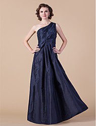 cheap -A-Line Mother of the Bride Dress One Shoulder Floor Length Taffeta Sleeveless with Sash / Ribbon Bow(s) Side Draping 2020