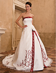 cheap -Ball Gown Strapless Cathedral Train Organza / Satin Strapless Wedding Dress in Color Made-To-Measure Wedding Dresses with Embroidery / Split Front / Flower 2020