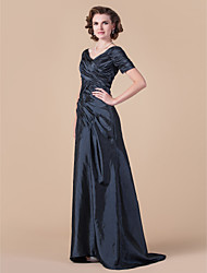cheap -A-Line Mother of the Bride Dress Vintage Inspired V Neck Floor Length Taffeta Short Sleeve with Criss Cross 2020