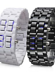 cheap -Men's Women's Couple's Sport Watch Quartz Stainless Steel Black / White 30 m LED Digital