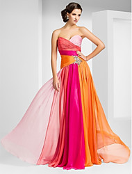 cheap -Sheath / Column Prom Formal Evening Military Ball Dress Strapless Sweetheart Neckline Sleeveless Floor Length Chiffon with Criss Cross Crystals Side Draping 2020 / Color Gradient