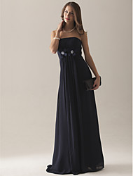 cheap -Empire Strapless Floor-length Chiffon Over Satin Bridesmaid Dress