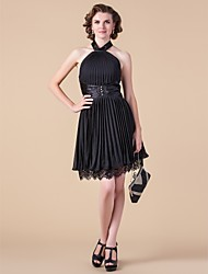 cheap -A-Line High Neck Halter Knee Length Chiffon Mother of the Bride Dress 617 Beading Lace Pleats by LAN TING BRIDE®