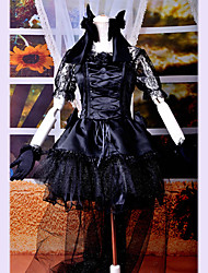 cheap -Gothic Lolita Punk Dress Women's Girls' Lace Satin Japanese Cosplay Costumes Lace Short Sleeve Medium Length / Gothic Lolita Dress / Gloves