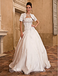 cheap -Ball Gown Wedding Dresses Strapless Floor Length Satin Short Sleeve Sparkle & Shine with Beading Appliques 2021
