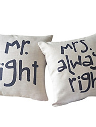 cheap -Set of 2 Romance of Couple Cotton/Linen Decorative Pillow Cover