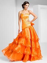 cheap -Ball Gown Open Back Prom Formal Evening Dress Sweetheart Neckline Strapless Sleeveless Floor Length Organza with Criss Cross Ruffles Side Draping 2021