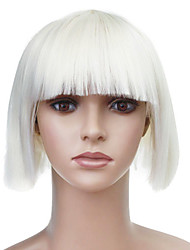 cheap -Capless Short White Straight High Quality Synthetic Japanese Kanekalon Wig