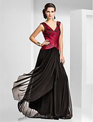 cheap -Sheath / Column Color Block Elegant Formal Evening Black Tie Gala Dress V Neck Sleeveless Sweep / Brush Train Tulle with Criss Cross Pleats 2020