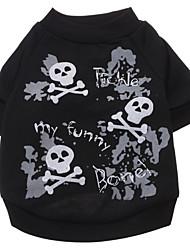cheap -Dog Shirt / T-Shirt Dog Clothes Black Costume Cotton Skull Fashion Halloween XS S M L XL XXL