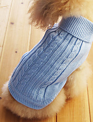 cheap -Cat Dog Sweater Winter Dog Clothes Light Blue Costume Cotton Solid Colored XS S M L XL