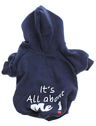 cheap -Dog Hoodie Winter Dog Clothes Blue Costume Cotton Letter & Number Fashion XS S M L