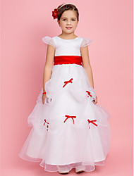 cheap -Princess / Ball Gown / A-Line Floor Length First Communion / Wedding Party Organza Short Sleeve Jewel Neck with Pick Up Skirt / Sash / Ribbon / Bow(s)