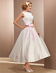 cheap -A-Line Wedding Dresses Bateau Neck Tea Length Satin Regular Straps Simple Casual Vintage Cute with Draping 2020