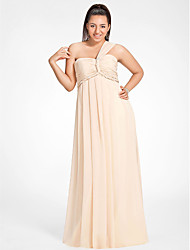 cheap -Sheath / Column Elegant Formal Evening Military Ball Dress One Shoulder Sweetheart Neckline Sleeveless Floor Length Chiffon with Beading Draping Side Draping 2020