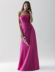 cheap -Sheath / Column Strapless / Straight Neckline Floor Length Chiffon Bridesmaid Dress with Ruched by Lightinthebox / Open Back