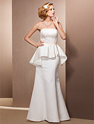 cheap -Mermaid / Trumpet Wedding Dresses Strapless Floor Length Satin Sleeveless with 2020