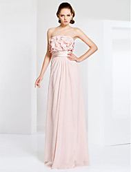 cheap -Sheath / Column Elegant Prom Formal Evening Military Ball Dress Strapless Sleeveless Floor Length Chiffon with Sash / Ribbon Ruffles Side Draping 2020
