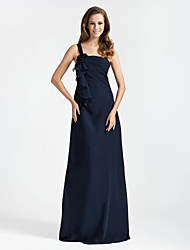 cheap -Princess / A-Line / Sheath / Column One Shoulder Floor Length Chiffon Bridesmaid Dress with Ruffles / Side Draping / Flower