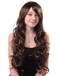 cheap -Capless Long Brown Curly High Quality Synthetic Japanese Kanekalon Hot Sale Wig