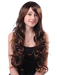 Недорогие -Монолитным длинные завитые Браун высокого качества синтетического японского Kanekalon Горячая продажа париков