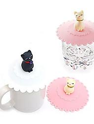 Недорогие -кот Pattern Силиконовый шар чашки крышки крышки (случайные цвета)