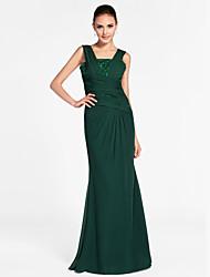 cheap -Sheath / Column Elegant Formal Evening Military Ball Dress Straps Sleeveless Floor Length Chiffon with Criss Cross Beading Draping 2021