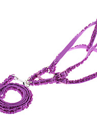 cheap -Dog Harness Leash Slip Lead Genuine Leather Purple Orange Blue