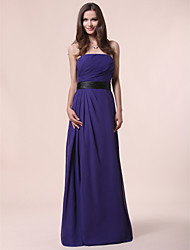 cheap -Princess / A-Line Strapless Floor Length Chiffon Bridesmaid Dress with Sash / Ribbon / Draping / Side Draping