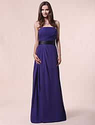 cheap -Princess / A-Line Strapless Floor Length Chiffon Bridesmaid Dress with Sash / Ribbon / Draping / Side Draping