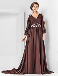 cheap -A-Line V Neck Court Train Chiffon Elegant / Empire Formal Evening Dress with Appliques / Pleats 2020
