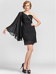 cheap -Sheath / Column Homecoming Cocktail Party Dress One Shoulder Long Sleeve Short / Mini Chiffon with Beading Side Draping 2021