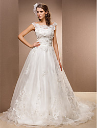 cheap -A-Line Wedding Dresses Scoop Neck Chapel Train Lace Organza Sleeveless with Sash / Ribbon Beading Appliques 2020