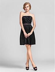 cheap -Ball Gown Cocktail Party Dress Strapless Sleeveless Short / Mini Taffeta with Criss Cross 2021