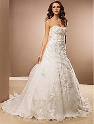 cheap -A-Line Wedding Dresses Strapless Chapel Train Organza Strapless with Beading Appliques 2020