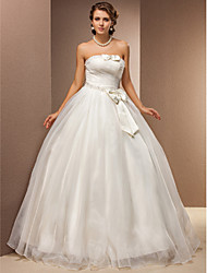 cheap -Ball Gown Wedding Dresses Strapless Floor Length Tulle Sleeveless with 2020