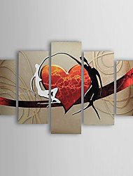 cheap -Hand-painted Oil Paintings Modern Abstract Lovers Heart Canvas Five Panels Ready to Hang With Stretched Frame