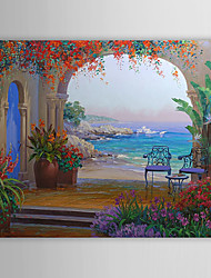 cheap -Oil Painting Hand Painted - Landscape Comtemporary Stretched Canvas