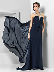 cheap -Sheath / Column Halter Neck Sweep / Brush Train Chiffon Empire / Blue Formal Evening / Wedding Guest Dress with Appliques / Split Front 2020