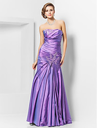 cheap -Mermaid / Trumpet Elegant Prom Formal Evening Dress Strapless Straight Neckline Sleeveless Floor Length Taffeta with Appliques 2021