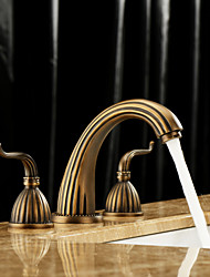 cheap -Two Handles Bathroom Faucet, Antique Brass Three Hole Widespread, COD Bathroom Sink Faucet Contain with Cold and Hot Water