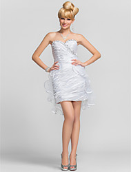 cheap -Sheath / Column Graduation Cocktail Party Dress Sweetheart Neckline Strapless Sleeveless Short / Mini Tulle Charmeuse with Criss Cross Beading Side Draping 2021