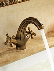 cheap -Antique Brass Bathroom Sink Faucet,Table Type FaucetSet  Brass Two Handles One Hole Bath Taps with Hot and Cold Water Switch