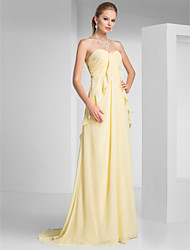 cheap -Sheath / Column Beautiful Back Formal Evening Military Ball Dress Strapless Sleeveless Sweep / Brush Train Chiffon with Ruched Ruffles 2020