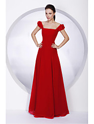 cheap -A-Line / Ball Gown Off Shoulder Floor Length Chiffon Bridesmaid Dress with Sash / Ribbon / Pleats