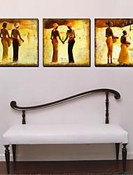 """cheap -12 """"-24"""" Traditonal persone Orologio da parete in tela 3pcs"""